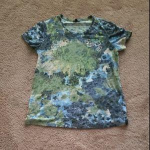 Embellished burnout scoopneck top